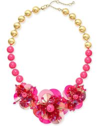 """Kate Spade Sequin & Bead Leather Flower Statement Necklace, 17"""" + 1"""" Extender - Pink"""