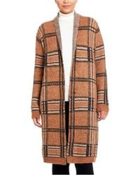Joseph A Roll Collar Coatigan With Snaps - Brown