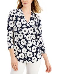 Charter Club Petite Floral Shirt, Created For Macy's - Blue