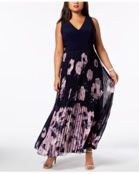 Xscape - Plus Size Printed Pleated Gown - Lyst