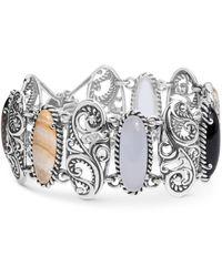 Carolyn Pollack Multi-stone Swirl Bangle Bracelet In Sterling Silver - Metallic