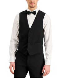 INC International Concepts Slim-fit Black Solid Suit Vest, Created For Macy's
