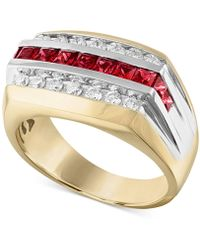 Macy's Lab-created Ruby (1-1/10 Ct. T.w.) & White Sapphire (5/8 Ct. T.w.) Ring In 10k Gold - Metallic
