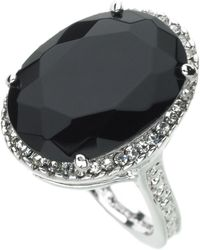 Guess - Ring, Silver-tone Black Crystal - Lyst