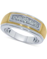 Macy's - Diamond Two-tone Ring (1/2 Ct. T.w.) In Sterling Silver & 18k Gold-plate - Lyst