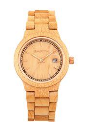 Earth Wood - Biscayne Wood Bracelet Watch W/date Khaki 38mm - Lyst