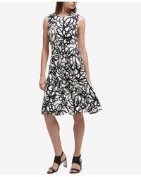 DKNY - Floral-print Fit & Flare Dress - Lyst