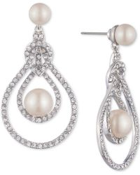 Carolee - Silver-tone Pave & Imitation Pearl Openwork Drop Earrings - Lyst