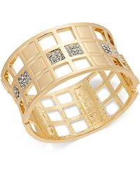 INC International Concepts - I.n.c. Gold-tone Crystal Checkered Bangle Bracelet, Created For Macy's - Lyst