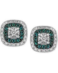 Macy's - Diamond Multicolor Stud Earrings (1/4 Ct. T.w.) In Sterling Silver - Lyst