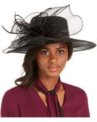 August Accessories Wide-brim Braided Dressy Hat - Black