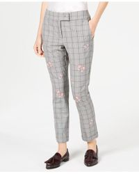 Marella - Gong Floral - Embroidered Plaid Pants - Lyst