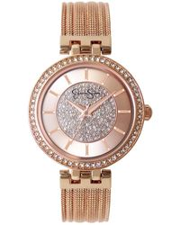 Jessica Simpson Pave Crystal Gold Tone Mesh Watch 36mm - Pink