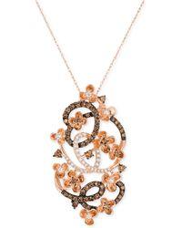 Le Vian - Diamond Fancy Scroll Floral Pendant Necklace (1-1/5 Ct. T.w.) In 14k Rose Gold - Lyst