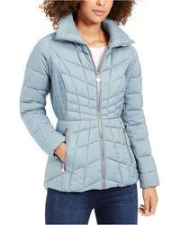 Bernardo Quilted Packable Puffer Coat - Blue