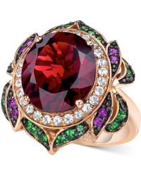 Le Vian Garnet (7-5/8 Ct. T.w.) And Multi-stone Round Flower Ring In 14k Rose Gold - Multicolor