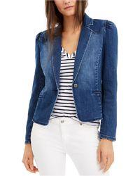 INC International Concepts Inc Puff-sleeve Denim Blazer, Created For Macy's - Blue
