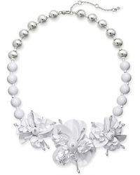 """Kate Spade - Sequin & Bead Leather Flower Statement Necklace, 17"""" + 1"""" Extender - Lyst"""