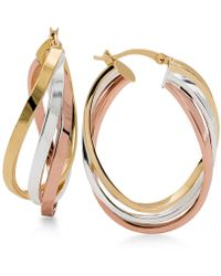 Macy's - Tri-tone Twisted Hoop Earrings In Sterling Silver, 14k Gold-plate And 14k Rose Gold-plate - Lyst