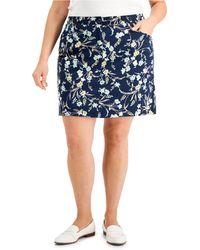 Karen Scott Plus Size Wildflower Breeze Skort, Created For Macy's - Blue