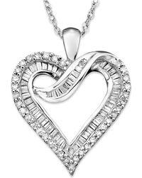 Macy's - Diamond Heart Necklace In 14k White Gold (1/2 Ct. T.w.) - Lyst