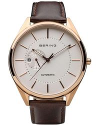 Bering Automatic Multifunction Stainless Steel Case Calfskin Strap - Brown