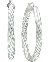 "Giani Bernini Medium Twisted Tube Hoop Earrings In Sterling Silver, 1.57"", Created For Macy's - Metallic"