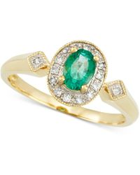 Rare Featuring Gemfields - Certified Emerald (1/3 Ct. T.w.) And Diamond Accent Ring In 14k Gold - Lyst