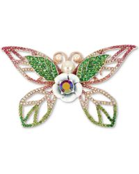 Betsey Johnson - Rose Gold-tone Crystal & Imitation Pearl Butterfly Pin - Lyst