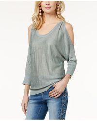 f2072e2fa4387 Lyst - Inc International Concepts Petite Lace-shoulder Sweater in Black