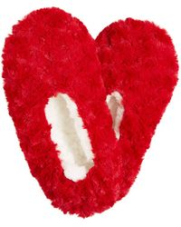 Charter Club Faux-fur Slipper Socks, Created For Macy's - Red