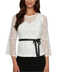 Alex Evenings V-neck Sequin Lace Blouse - White