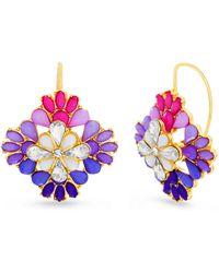 Steve Madden Multi-color Rhinestone Square Flower Gold-tone Earrings - Metallic