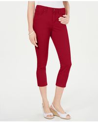 Charter Club Petite Tummy-control Bristol Capri Jeans, Created For Macy's - Red
