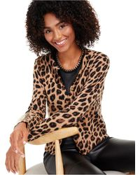 Charter Club Animal-print Cashmere Cardigan, Created For Macy's - Multicolor