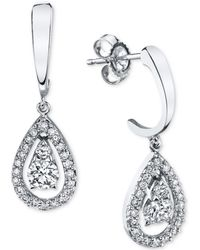 Macy's - Diamond Teardrop Orbital Drop Earrings (1/3 Ct. T.w.) In 14k White Gold - Lyst