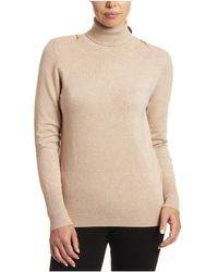 Joseph A Solid Turtleneck With Zipper Detail - Natural