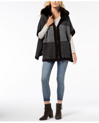 Steve Madden - Undercover Faux-fur Hooded Poncho - Lyst
