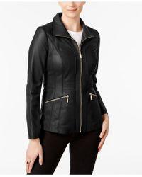 Anne Klein - Petite Scuba Leather Jacket - Lyst