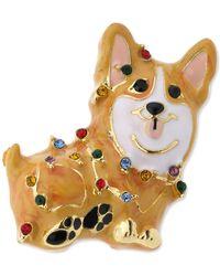Charter Club Holiday Lane Gold-tone Multicolor Pavé Corgi Dog Pin, Created For Macy's - Metallic