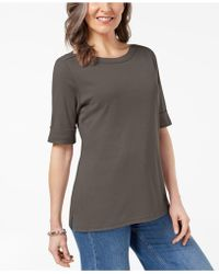 Karen Scott - Cuffed Boat-neck Top, Created For Macy's - Lyst
