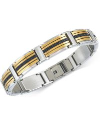 Macy's - Diamond Two-tone Link Bracelet (1 Ct. T.w.) In Stainless Steel And Gold Ion-plated Stainless Steel - Lyst