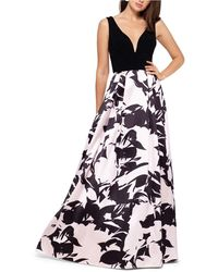 Betsy & Adam Floral-print Gown - Black