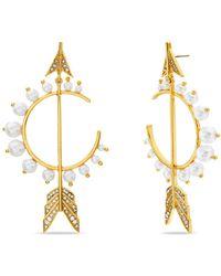 Steve Madden Imitation Pearl And Rhinestone Arrow Earring - Metallic