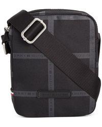 Tommy Hilfiger Alexander Windowpane Plaid Mini Reporter Bag - Black