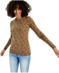 Charter Club Cashmere Animal Print Long-sleeve Crewneck Sweater, Created For Macy's - Multicolour