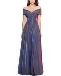 Xscape Off-the-shoulder Shimmer Wrap Gown - Blue