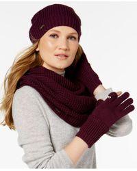 CALVIN KLEIN 205W39NYC 3-pc. Waffle-knit Hat, Gloves & Infinity Loop Set - Purple