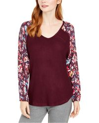 Vera Bradley Rhone Waffle And Flannel Pyjama Top, Online Only - Red