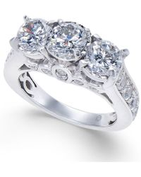 Macy's - Diamond Trinity Engagement Ring (3 Ct. T.w.) In 14k White Gold - Lyst